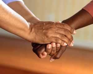 hands people friends communication
